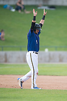 Missoula Osprey catcher Zachery Almond (9) celebrates after hitting a double during a Pioneer League game against the Orem Owlz at Ogren Park Allegiance Field on August 19, 2018 in Missoula, Montana. The Missoula Osprey defeated the Orem Owlz by a score of 8-0. (Zachary Lucy/Four Seam Images)