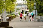 Joggers on the Eastbank Esplanade, Portland, Oregon