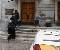 February 19, 2013 File Photo  -Policemen from the Unite Permanente Anti Corruption (Permanent Anti Corruption Unit) and from the Surete du Quebec (provincial Police of Quebec)<br /> raid the Montreal City Hall and leave with boxes of documents