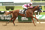 Power Broker with Rosie Naravnik wins the Easy Goer Stakes for 3-year olds, going 1 1/16 miles,at Belmont Park.  Trainer Bob Baffert  Owners Gary and Mary West