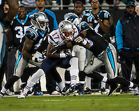 The Carolina Panthers play the New England Patriots at Bank of America Stadium in Charlotte North Carolina on Monday Night Football.  The Panthers defeated the Patriots 24-20.  New England Patriots wide receiver Aaron Dobson (17), Carolina Panthers cornerback Melvin White (23), Carolina Panthers cornerback Captain Munnerlyn (41)