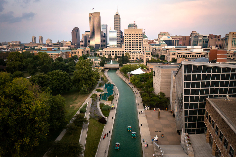 People traverse the canal in downtown Indianapolis, Indiana on Saturday, Aug. 7, 2021. (Photo by James Brosher)