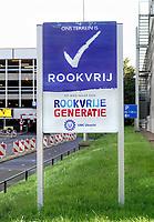 Nederland Utrecht - 2018. Sciencce Park Utrecht. Bord met de tekst: Ons terrein is rookvrij.  Foto Berlinda van Dam / Hollandse Hoogte