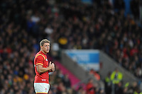 Rhys Priestland of Wales replaces Dan Biggar of Wales who leaves the field during the second half of the Quarter Final of the Rugby World Cup 2015 between South Africa and Wales - 17/10/2015 - Twickenham Stadium, London<br /> Mandatory Credit: Rob Munro/Stewart Communications