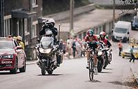 race leader Bob Jungels (LUX/Quick Step Floors) solo's up the Saint-Nicolas<br /> <br /> 104th Liège - Bastogne - Liège 2018 (1.UWT)<br /> 1 Day Race: Liège - Ans (258km)
