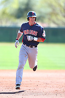 Grant Fink #23 of the Cleveland Indians runs the bases during a Minor League Spring Training Game against the Los Angeles Dodgers at the Los Angeles Dodgers Spring Training Complex on March 22, 2014 in Glendale, Arizona. (Larry Goren/Four Seam Images)