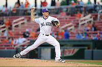 Pitcher Elliott Warford (30) of the Furman Paladins in a game against the Clemson Tigers on Wednesday, May 8, 2013, at Fluor Field at the West End in Greenville, South Carolina. (Tom Priddy/Four Seam Images)