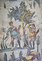 Close up detail picture of the Roman mosaics of the small hunt depicting boys hunting a song bird in a tree, room no 24 at the Villa Romana del Casale, first quarter of the 4th century AD. Sicily, Italy. A UNESCO World Heritage Site.<br /> <br /> The Small Hunt room was used as a living room for guests of the Villa Romana del Casale. The Small hunt mosaic design has 4 registers running across the mosaic depicting hunting scenes. In the first register two servants are handling hunting dogs. In the second register figures are depicted burning incense at an altar to Diana, the goddess of hunting, before the hunt starts. The offering is being made by Constantius Clorus , the Caesar of Emperor Maximianus who owned the Villa Romana del Casale. Behind him is his son the future Emperor Constantine. To the right of the altar is a figure holding the reins of a horse dressed in a clavi decorated with ivy leaves indicating that he belongs to the family of Maximianus.