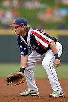 First baseman Dash Winningham (34) of the Columbia Fireflies plays defense in a game against the Rome Braves on Monday, July 3, 2017, at Spirit Communications Park in Columbia, South Carolina. Columbia won, 1-0. (Tom Priddy/Four Seam Images)