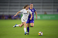Orlando, FL - Saturday March 24, 2018: Utah Royals forward Kelley O'Hara (5) is pursued by Orlando Pride midfielder Christine Nairn (7) during a regular season National Women's Soccer League (NWSL) match between the Orlando Pride and the Utah Royals FC at Orlando City Stadium. The game ended in a 1-1 draw.