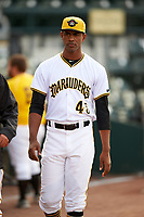 Bradenton Marauders Yunior Montero (45) before a game against the Clearwater Threshers on April 18, 2017 at LECOM Park in Bradenton, Florida.  Clearwater defeated Bradenton 4-2.  (Mike Janes/Four Seam Images)