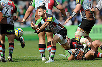 Danny Care of Harlequins passes  during the Aviva Premiership match between Harlequins and Leicester Tigers at The Twickenham Stoop on Saturday 21st April 2012 (Photo by Rob Munro)