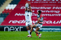 21st November 2020; Welford Road Stadium, Leicester, Midlands, England; Premiership Rugby, Leicester Tigers versus Gloucester Rugby; James Hanson of Gloucester Rugby tries to charge down a kick from Zack Henry of Leicester Tigers