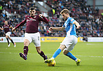 Hearts v St Johnstone…05.11.16  Tynecastle   SPFL<br />David Wotherspoon turns Callum Paterson<br />Picture by Graeme Hart.<br />Copyright Perthshire Picture Agency<br />Tel: 01738 623350  Mobile: 07990 594431