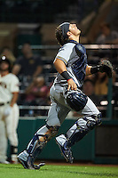 Salt River Rafters catcher Jacob Nottingham (24), of the Milwaukee Brewers organization, during a game against the Scottsdale Scorpions on October 20, 2016 at Scottsdale Stadium in Scottsdale, Arizona.  Scottsdale defeated Salt River 4-1.  (Mike Janes/Four Seam Images)