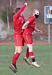 WINSTED CT. - 17 November 2020-111720SV08-#15 Curtiss Blische and #13 Matt Maltby of Northwestern celebrate after Blische scored a goal against Housatonic during Berkshire League boy's soccer tournament action in Winsted Tuesday.<br /> Steven Valenti Republican-American