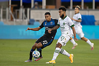 SAN JOSE, CA - SEPTEMBER 16: Eryk Williamson #30 of the Portland Timbers & Marcos Lopez #27 of the San Jose Earthquakes battle for the ball during a game between Portland Timbers and San Jose Earthquakes at Earthquakes Stadium on September 16, 2020 in San Jose, California.