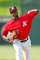 Kannapolis Intimidators relief pitcher Andre Wheeler (10) in action against the Hickory Crawdads at CMC-Northeast Stadium on July 28, 2013 in Kannapolis, North Carolina.  The Crawdads defeated the Intimidators 6-1.  (Brian Westerholt/Four Seam Images)