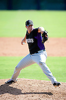 Colorado Rockies minor league pitcher Scott Oberg #58 during an instructional league game against the San Francisco Giants at the Salt River Flats Complex on October 4, 2012 in Scottsdale, Arizona.  (Mike Janes/Four Seam Images)
