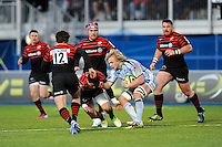20130127 Copyright onEdition 2013©.Free for editorial use image, please credit: onEdition..Luke Hamilton of Cardiff Blues appears to punch Nils Mordt of Saracens during the LV= Cup match between Saracens and Cardiff Blues at Allianz Park on Sunday 27th January 2013 (Photo by Rob Munro)..For press contacts contact: Sam Feasey at brandRapport on M: +44 (0)7717 757114 E: SFeasey@brand-rapport.com..If you require a higher resolution image or you have any other onEdition photographic enquiries, please contact onEdition on 0845 900 2 900 or email info@onEdition.com.This image is copyright onEdition 2013©..This image has been supplied by onEdition and must be credited onEdition. The author is asserting his full Moral rights in relation to the publication of this image. Rights for onward transmission of any image or file is not granted or implied. Changing or deleting Copyright information is illegal as specified in the Copyright, Design and Patents Act 1988. If you are in any way unsure of your right to publish this image please contact onEdition on 0845 900 2 900 or email info@onEdition.com