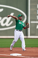 Boston Red Sox third baseman Rafael Devers (11) throws to first base during a Major League Spring Training game against the Minnesota Twins on March 17, 2021 at JetBlue Park in Fort Myers, Florida.  (Mike Janes/Four Seam Images)