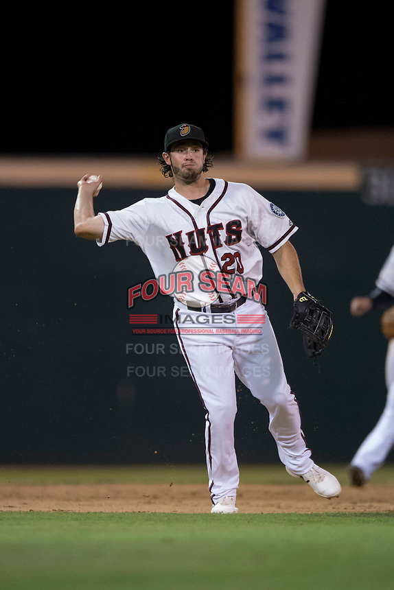 Modesto Nuts third baseman Joe Rizzo (20) prepares to make a throw to first base during a California League game against the Lake Elsinore Storm at John Thurman Field on May 12, 2018 in Modesto, California. Lake Elsinore defeated Modesto 4-1. (Zachary Lucy/Four Seam Images)