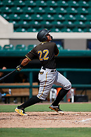 Pittsburgh Pirates Emilson Rosado (22) follows through on a swing during a Florida Instructional League game against the Detroit Tigers on October 6, 2018 at Joker Marchant Stadium in Lakeland, Florida.  (Mike Janes/Four Seam Images)