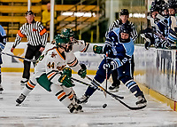 30 November 2018: University of Maine Black Bear Defender Taylor Leech, a Sophomore from Bowdoinham, Maine, in first period action against the University of Vermont Catamounts at Gutterson Fieldhouse in Burlington, Vermont. The Lady Bears defeated the Lady Cats 2-1 in the first game of their 2-game Hockey East series. Mandatory Credit: Ed Wolfstein Photo *** RAW (NEF) Image File Available ***