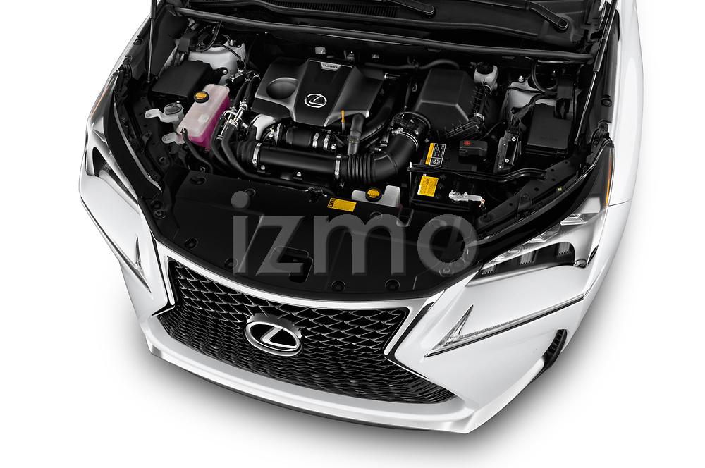 Car Stock 2017 Lexus NX 200t-F-Sport 5 Door SUV Engine  high angle detail view