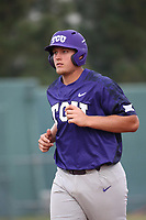 Luken Baker (19) of the TCU Horned Toads during a game against the Long Beach State Dirtbags  at Blair Field on March 14, 2017 in Long Beach, California. Long Beach defeated TCU, 7-0. (Larry Goren/Four Seam Images)