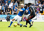 St Johnstone v Rangers…11.09.21  McDiarmid Park    SPFL<br />Shaun Rooney and Calvin Bassey<br />Picture by Graeme Hart.<br />Copyright Perthshire Picture Agency<br />Tel: 01738 623350  Mobile: 07990 594431