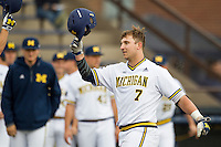 Michigan Wolverines catcher Harrison Wenson (7) crosses the plate after hitting an 8th inning home run against the Toledo Rockets on April 20, 2016 at Ray Fisher Stadium in Ann Arbor, Michigan. Michigan defeated Bowling Green 2-1. (Andrew Woolley/Four Seam Images)