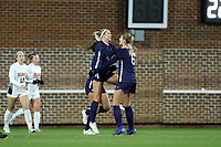 CHAPEL HILL, NC - NOVEMBER 16: Bridgette Andrzejewski #4 of the University of North Carolina celebrates her goal with Taylor Otto #6 during a game between Belmont and North Carolina at UNC Soccer and Lacrosse Stadium on November 16, 2019 in Chapel Hill, North Carolina.