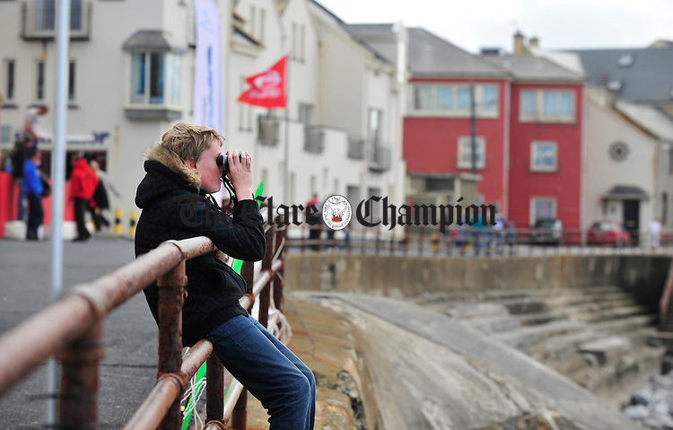 Niall Sherlock keeps focused during the surfing championships in Lahinch at the weekend. Photograph by Declan Monaghan