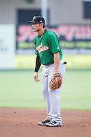 Savannah Sand Gnats second baseman L.J. Mazzilli (13) on defense against the Kannapolis Intimidators at CMC-Northeast Stadium on June 9, 2014 in Kannapolis, North Carolina.  The Intimidators defeated the Sand Gnats 4-2.  (Brian Westerholt/Four Seam Images)