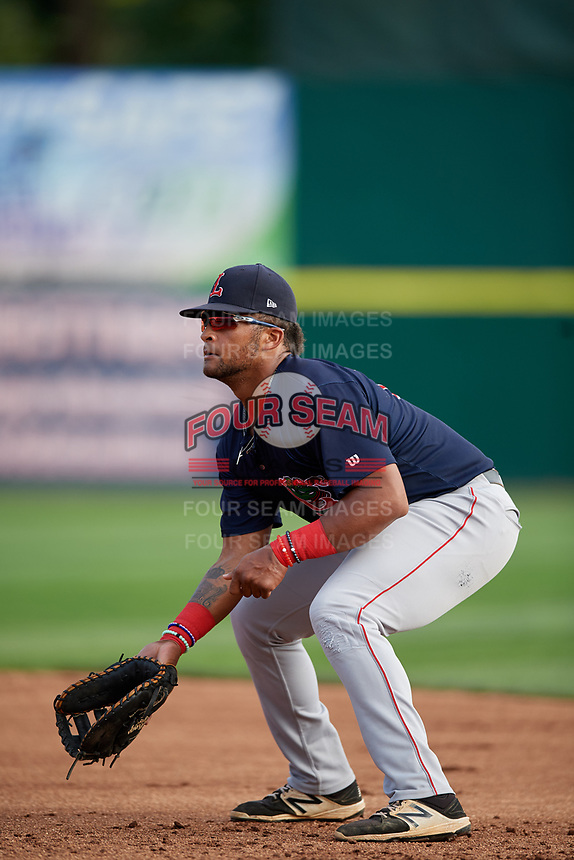 Lowell Spinners first baseman Trey Ganns (28) during a game against the Connecticut Tigers on August 26, 2018 at Dodd Stadium in Norwich, Connecticut.  Connecticut defeated Lowell 11-3.  (Mike Janes/Four Seam Images)