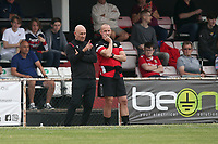 Hornchurch manager Mark Stimson (L) during Hornchurch vs Dagenham & Redbridge, Friendly Match Football at Hornchurch Stadium on 24th July 2021