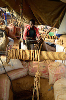 BURKINA FASO , Fada N´Gourma, village TINDANGOU, gold mining Camp PAMA, artisanal gold mines, winch to lift up the ore