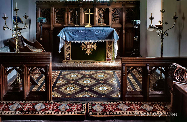 Detail of the altar & chancel of St Lawrence Church, Tubney, Oxfordshire, UK. This is the only Protestant church designed by Augustus Pugin. The interior fittings were designed by him and remain unchanged since its consecration in 1847.