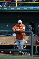 Texas Longhorns Head Coach Augie Garrido watches a game against the UCLA Bruins at Jackie Robinson Stadium on March 12, 2016 in Los Angeles, California. UCLA defeated Texas, 5-4. (Larry Goren/Four Seam Images)