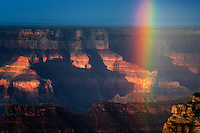 Rainbow over Grand Canyon. Bright Angel Point. North Rim Grand Canyon National Park, Arizona