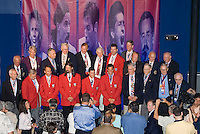 Hall of Fame members in attendance pose for photographers after the conclusion of the National Soccer Hall of Fame induction ceremony. Wright Soccer Campus, Oneonta, NY, on August  29, 2005.