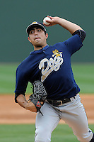 Pitcher Daniel Camarena (16) of the Charleston RiverDogs in a game against the Greenville Drive on Sunday, May 19, 2013, at Fluor Field at the West End in Greenville, South Carolina. Charleston won, 9-7. (Tom Priddy/Four Seam Images)
