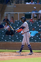 Peoria Javelinas center fielder Ronald Acuna (34), of the Atlanta Braves organization, follows through on his swing during an Arizona Fall League game against the Salt River Rafters on October 16, 2017 at Salt River Fields at Talking Stick in Scottsdale, Arizona.  Peoria defeated Salt River 6-2.  (Zachary Lucy/Four Seam Images)
