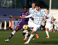 Football Soccer: Tim Cup Round of 16 Fiorentina - FC Internazionale Milano, Artemio Franchi  stadium, Florence, January 13, 2021. <br /> Inter's Andrea Ranocchia (l) in action with Fiorentina's Christian Kouamé (r) in action during the Italian Tim Cup football match between Fiorentina and Inter at Florence's Artemio Franchi stadium, on January 13, 2021.  <br /> UPDATE IMAGES PRESS/Isabella Bonotto