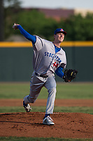 Stockton Ports starting pitcher Brian Howard (44) delivers a pitch to the plate during a California League game against the Visalia Rawhide at Visalia Recreation Ballpark on May 8, 2018 in Visalia, California. Stockton defeated Visalia 6-2. (Zachary Lucy/Four Seam Images)