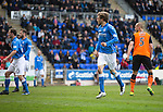 St Johnstone v Dundee United...09.05.15   SPFL<br /> Murray Davidson flicks the ball past Cierzniak for his goal<br /> Picture by Graeme Hart.<br /> Copyright Perthshire Picture Agency<br /> Tel: 01738 623350  Mobile: 07990 594431