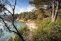 Le Domaine du Rayol:<br /> la baie du figuier, sa petite plage et la maison de la plage (1949).