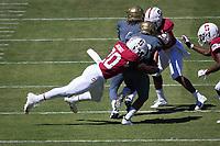 STANFORD, CA - September 15, 2018: Bobby Okereke at Stanford Stadium. The Stanford Cardinal defeated UC Davis, 30-10.