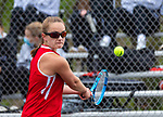 WOLCOTT, CT 050821JS18—Wolcott's Gabby Petroniro 	returns a shot during her match with Watertown's Morgan Bennett in their  NVL match-up Saturday at Wolcott High School. <br /> Jim Shannon Republican American